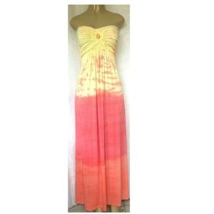 SKY Maxi Dress Strapless Tie Dye Full Length Long